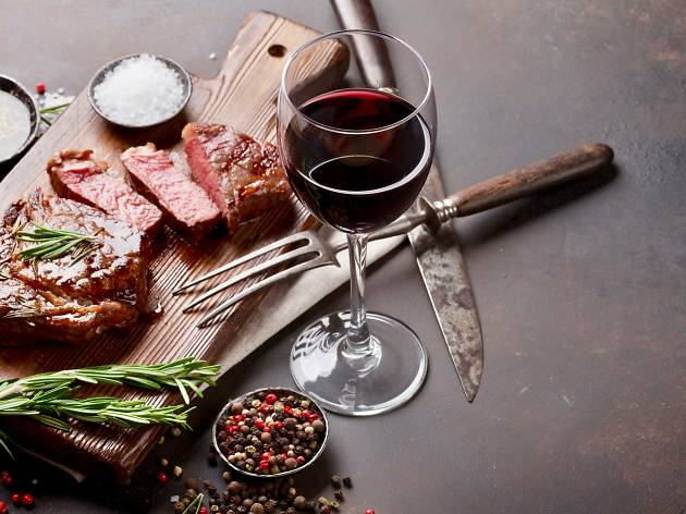 red wine and meat